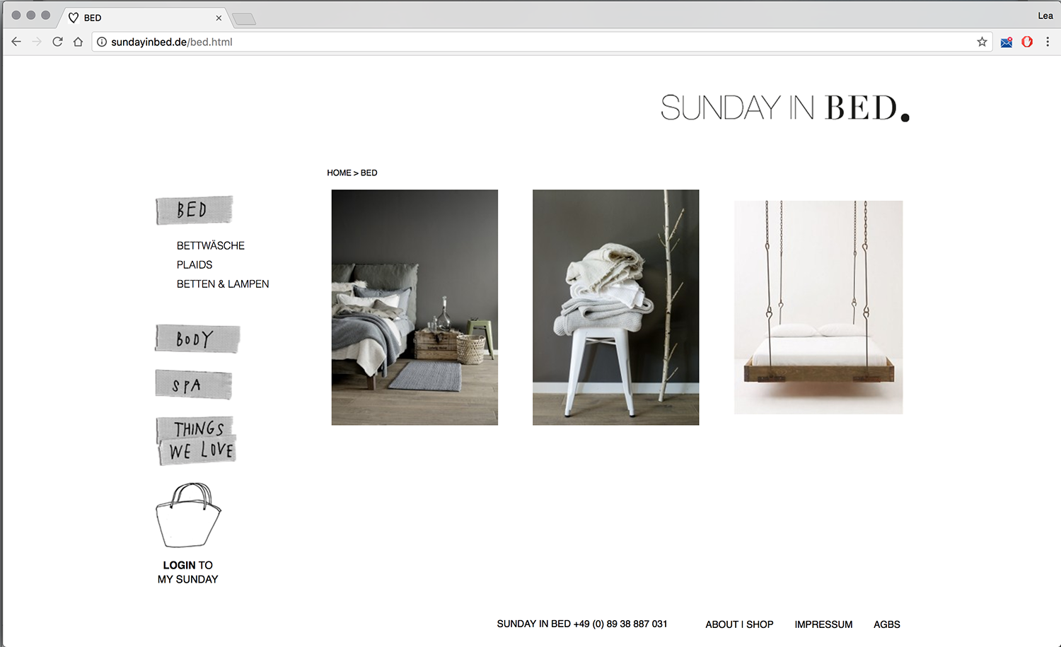 Online Shop Sunday In Bed Lea Becker